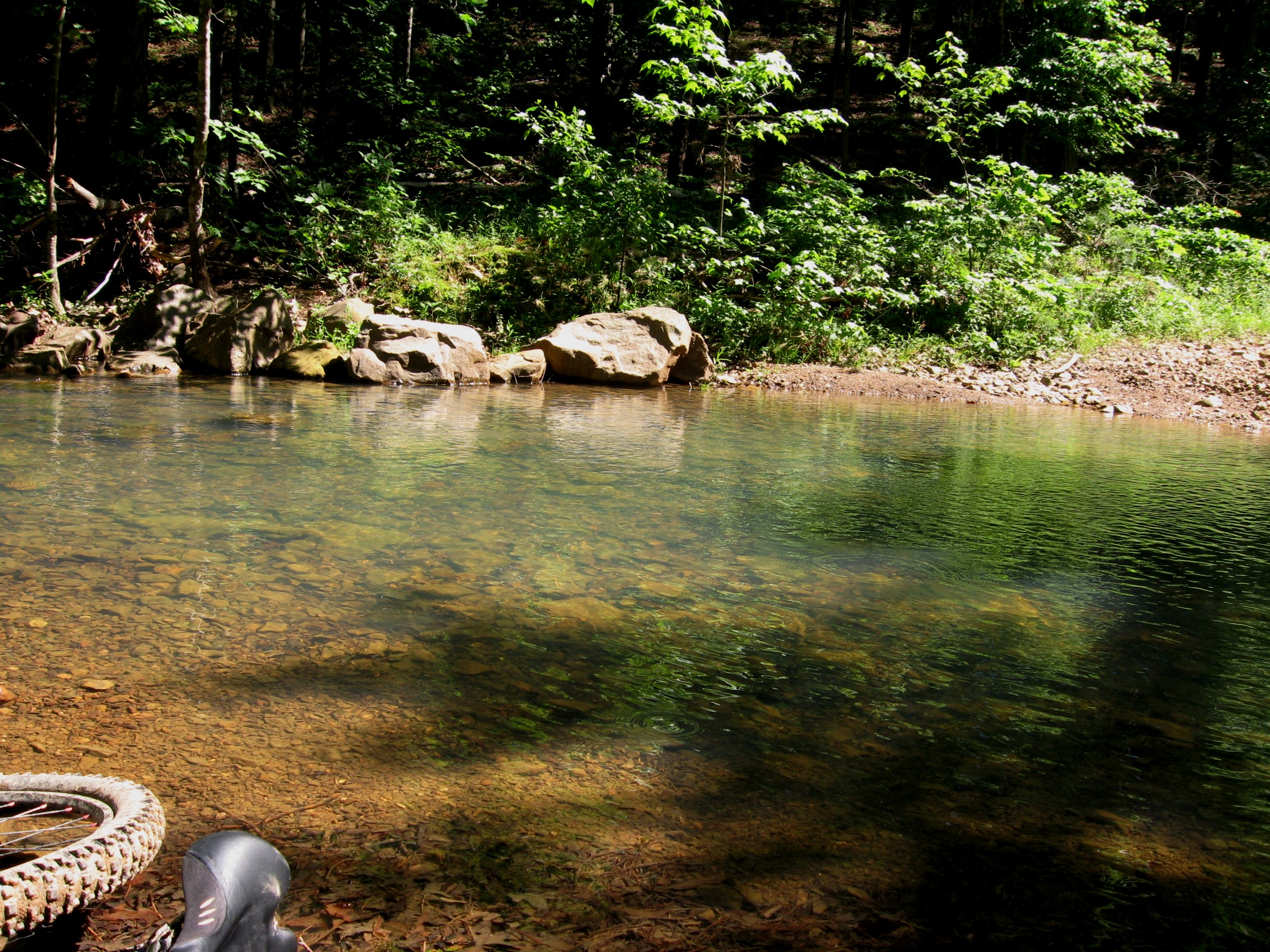 Remove shoes/socks, wade through thigh-deep creek, stop for a snack on the other side while feet dry off...